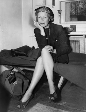 "Mildred Gillars, aka ""Axis Sally,"" photographed in 1946 at U.S. Counter Intelligence Headquarters, Berlin."