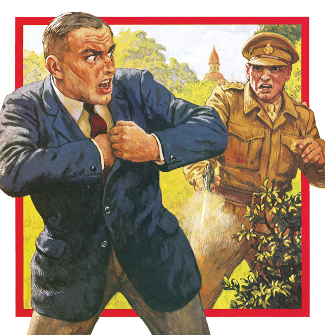 "An illustration from a pulp magazine of the day shows a British soldier shooting and  capturing U.S.-born William Joyce (""Lord Haw-Haw"") at war's end. Joyce was later hanged."