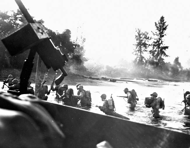 Expecting stiff Japanese opposition (that did not materialize), men of the 3rd Marine Division wade ashore on November 1, 1943. The U.S. campaign to secure Bougainville took a year; Australian units, which would arrive in November 1944, required an additional 10 months to mop up pockets of still-determined Japanese holdouts.