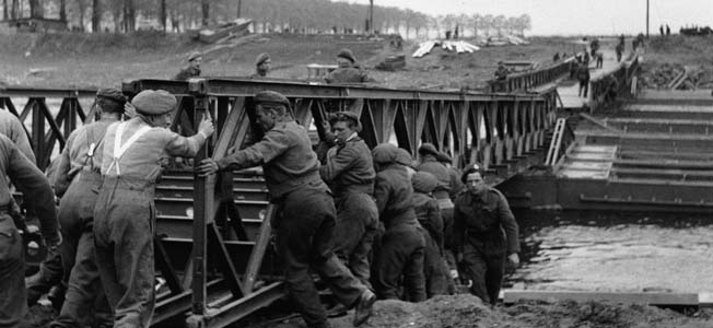 The practical and portable British Bailey Bridge helped Allied troops remain on the march.