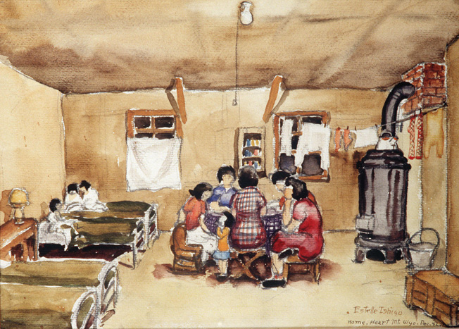 "Estelle Ishigo, a European American, accompanied her Nisei husband to the Heart Mountain Camp in Wyoming, where she painted this scene depicting ""home"" in one of the Spartan barracks."