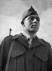 Marine Sergeant John Basilone receives his Medal of Honor in recognition of his heroism on Guadalcanal on October 24-25, 1942.