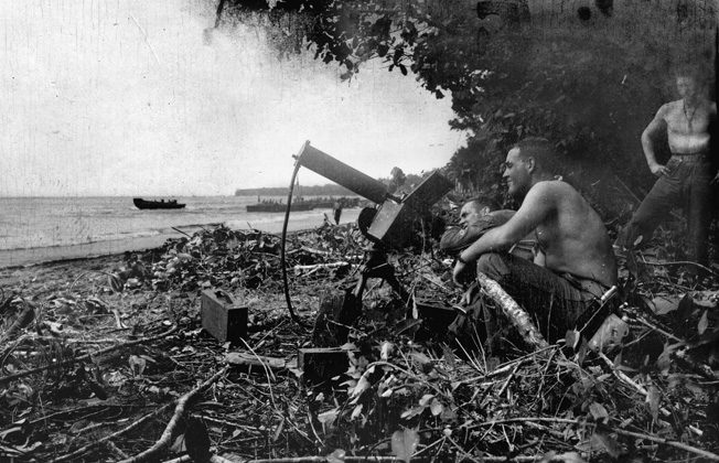 A machine position on Guadalcanal. During a Japanese attack in 1942 Basilone picked up a .30-caliber machine gun, ran 200 yards, and fired point-blank at the Japanese.