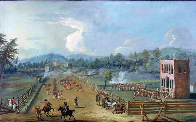 British troops are shown defending Cliveden, the residence of Pennsylvania judge Benjamin Chew. British infantry occupied the house, turning it into a strongpoint against the American attack. This painting, also by Xavier Della Gatto, is believed to have been made for a British officer who fought in the battle.