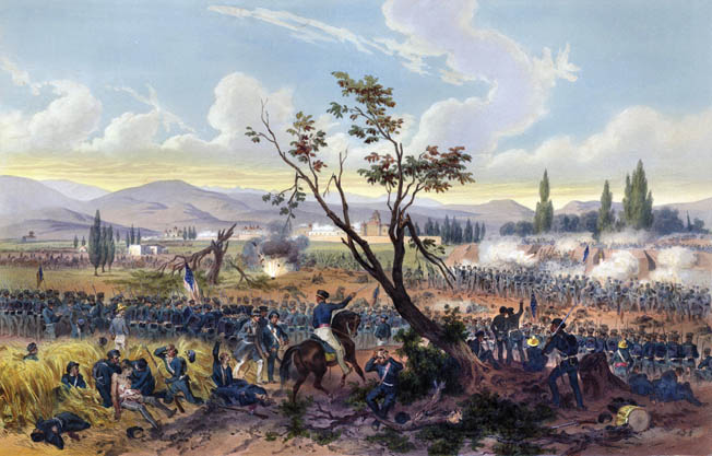 General Winfield Scott's assault on Mexican  troops at Churubusco  on August 19-20, 1847, is depicted in a period painting. Over the course of the two-day battle,  the Americans captured multiple enemy  strongpoints.