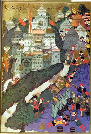 Bayezid at left arrives with his army at Nicopolis. Preferring to fight a defensive battle, the Ottoman sultan waited for the Crusaders to attack his fieldworks in the nearby hills.