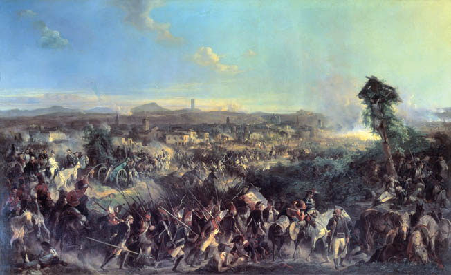 Mikhail Suvorov leads an army to victory against the French at Novi in 1799. In the series of decisive battles against revolutionary France, Suvorov defeated every French army sent against him, completely clearing northern Italy of enemy forces.