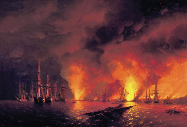 Fires from burning Turkish ships cast an eerie glow throughout Sinop Harbor. The one-sided naval battle solidified the resolve of France and Britain to assist the Ottomans in their war with the Russians.