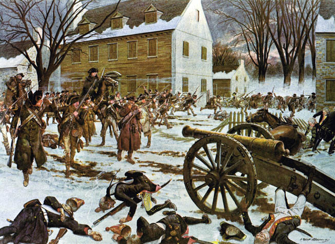 Slain Hessian jaegers lie near one of their bronze guns following Washington's dawn attack on December 26. The Continental Army secured badly needed supplies by capturing the Hessians' winter quarters in the New Jersey town.