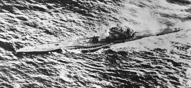 A German U-boat founders under the repeated hammering of depth charges and bombs dropped from a pair of Royal Air Force Short Sunderland flying boats in the Bay of Biscay.