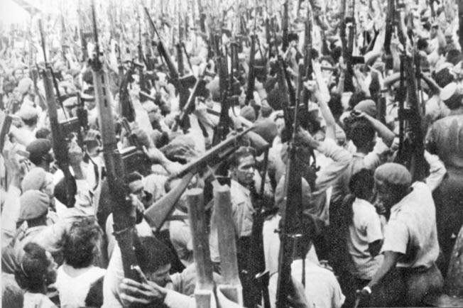A ragtag group of poorly trained anti-Castro Cubans, covertly supported by the CIA, landed at the Bay of Pigs to overthrow the communist in Cuba.