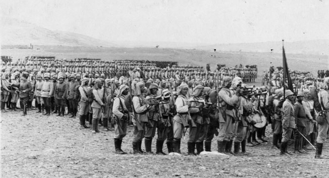 Ottoman troops assemble in Palestine at the outset of World War I in preparation for a strike against the Suez Canal, which arguably was the most important Allied line of communication in the world at the time.