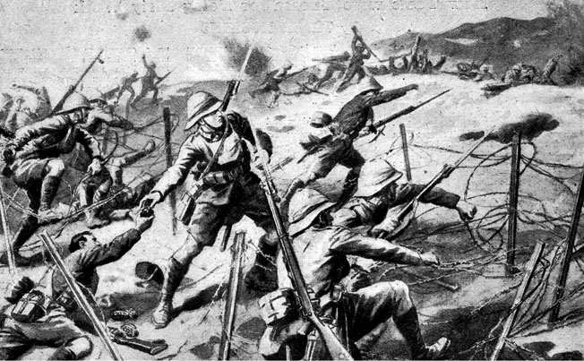 British infantry storms Turkish trenches at the start of the battle.