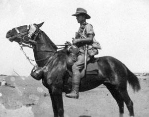 A fully kitted Australian cavalryman.
