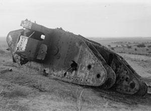 A destroyed British tank near Gaza.