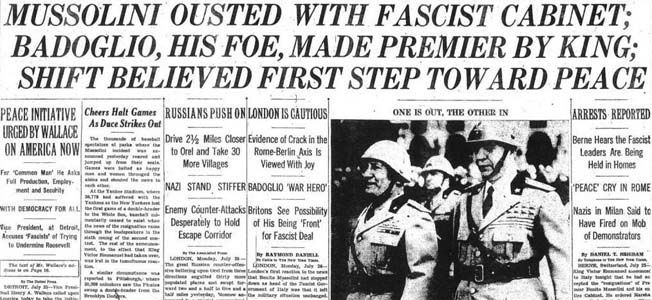 When the Fascist Grand Council voted to dismiss Benito Mussolini from power in war-torn Italy, the former dictator faced an uncertain future.