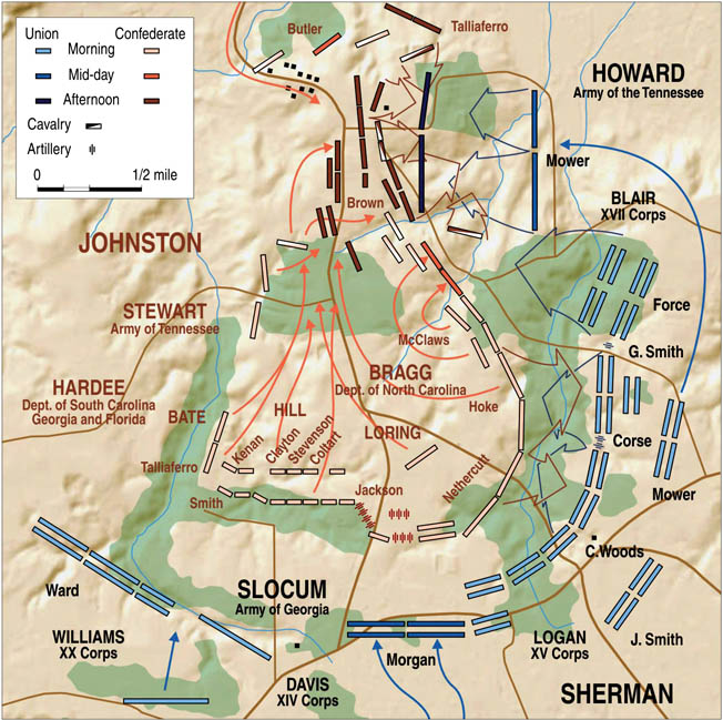 On the Union right, Mower's XVII Corps nearly captured Mill Creek Bridge and trapped the entire Confederate army, but determined counterattacks forced them back. Sherman bided his time.