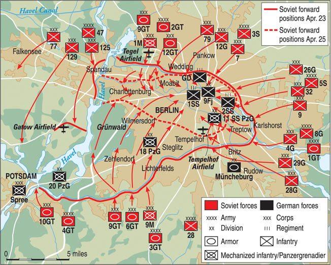By completely encircling Berlin and attacking from all sides, several Soviet armies allowed no one out and no reinforcements in.