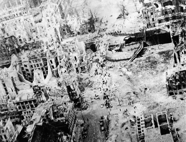 Once Berlin had fallen, a cameraman of the Royal Air Force flew over and captured this image of the devastated city that once was home to millions.