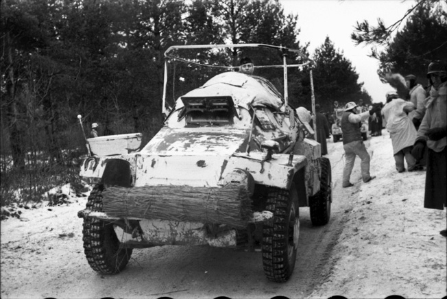 An Sdkfz.261 light armored radio vehicle in Russia in 1941. Scouting vehicles were an integral part of the reconnaissance battalions of panzer and motorized regiments in World War II.