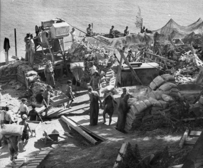 Germans, and conscripted Italian workers, construct fortifications beneath camouflage netting on the Ligurian coast.