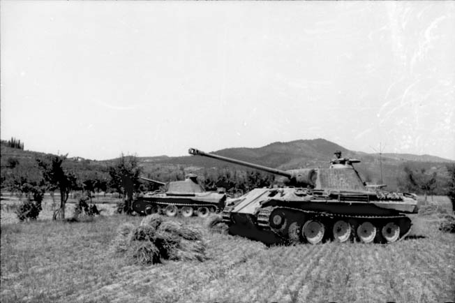 German tanks (Panther Vs) take up a battle line in a farmer's field near Ravenna, east of Bologna.