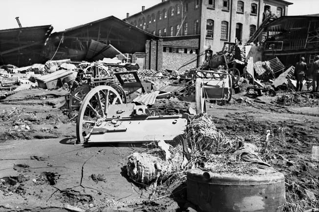 A view of the flood damage in an industrial area near the Möhne Dam. The Germans stated there were at least 1,300 casualties from the raid and subsequent flooding, but it did not permanently curtail the German war effort.