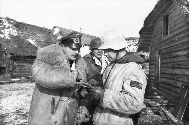 In 1944 Strachwitz, left, joined Army Group North where he led panzer forces in a fierce counterattack to eliminate the expansive Soviet bridgehead over the Narva River at Krivasso.