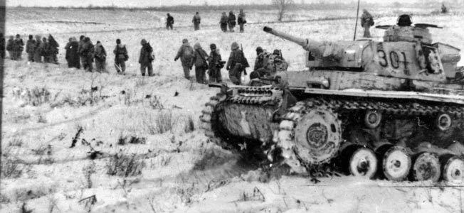 Grenadiers of a panzer division trudge through the snow near Stalingrad, December 1942. The weather played a significant role in the outcome of the battle.