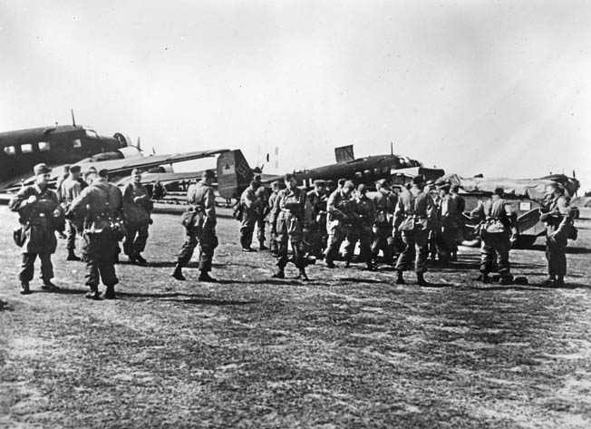 Fallschirmjägers prepare to board transports in Corinth for Operation Mercury—the May 1941 invasion of Crete—where Statetzny jumped and got his first taste of battle.