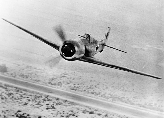 An Fw-190 over the desert in Libya. By the end of 1942, the Fw-190 was deployed with Luftwaffe forces in North Africa, Russia, and Western Europe.