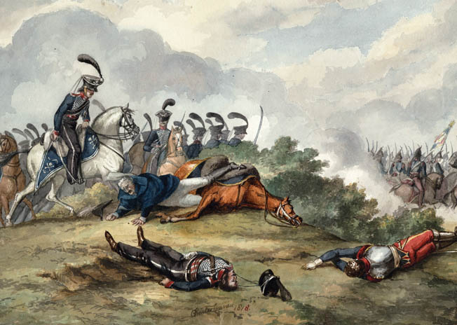 Seventy-two-year-old Field Marshal Blucher is shown pinned under his horse after leading a counterattack by his cavalry. Quick thinking by one of Blucher's aides, who covered him with a cloak as French cavalry streamed past, helped the field marshal avoid capture while he was pinned for two hours.