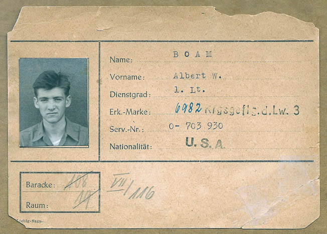 Boam's German POW identification card. He spent 10 months in captivity before being liberated by Patton's Third Army.