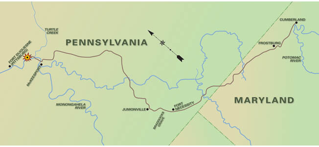 "The series of roads and highways in Maryland and Virginia dubbed ""Braddock's Road"" correspond generally to the roads Braddock's forces took to reach Fort Cumberland."