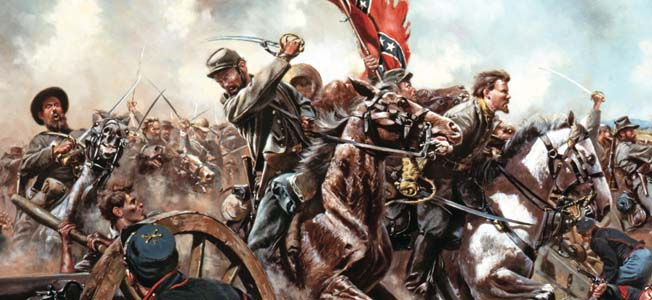 The largest cavalry battle of the American Civil War took place at Brandy Station, Virginia, where J.E.B. Stuart's Confederates and Alfred Pleasonton's Federals clashed, swords flashing and pistols blazing.