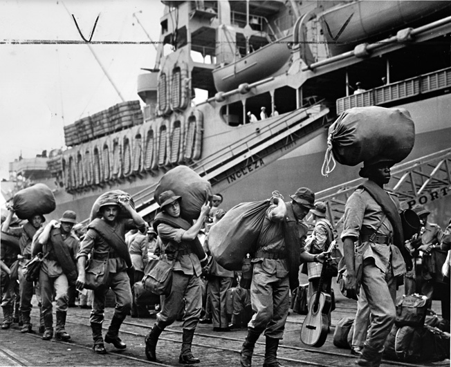 A second contingent of Brazilian troops boards a U.S. transport ship bound for Italy. Many of the troops, however, were not in the best of condition and would need to improve their level of fitness before being deployed to the front.