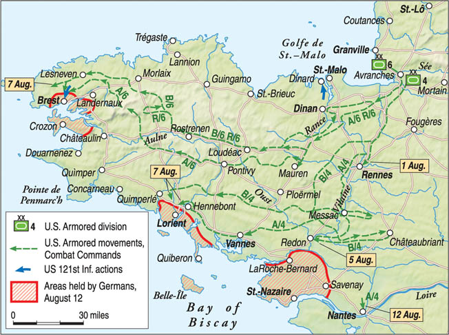 The 8th Infantry spread into the Brittany peninsula with the rest of the VII Corps and helped capture Dinard, St. Malo, and Brest.