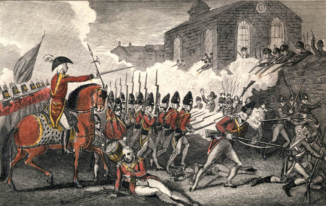 Patriots behind a stone wall at Concord inflict casualties on the British column. The British made a costly mistake lingering at Concord because it gave ample time for Patriot reinforcements to arrive.