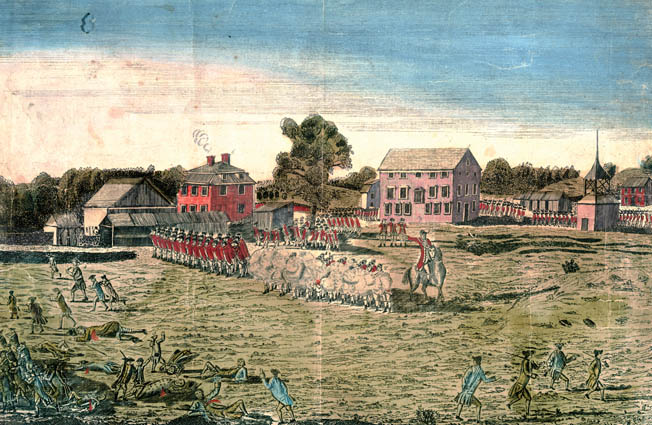 When Major John Pitcairn's marines opened fire on the Patriots at Lexington Green, most of them fled, but some held on and returned fire. A period engraving shows the Patriot line withering in the face of British volleys on open ground.