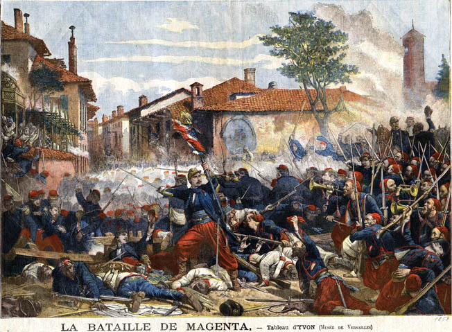 "French Zouaves storm the Ponte Nuova Bridge shouting ""Vive l'Empereur!"" The Austrians kept up a galling fire from a nearby building, but the fierce Zouaves took the building with the cold steel of their bayonets."