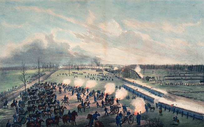 Major General John C. Breckinridge's Confederates, right, attack the well-ordered infantry and artillery of Maj. Gen. Lovell Rousseau's Union division.
