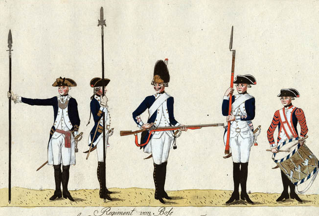 Prussian officers hold various types of spontoons. At left is a traditional spontoon and at right is a hybrid best described as a partisan spontoon.