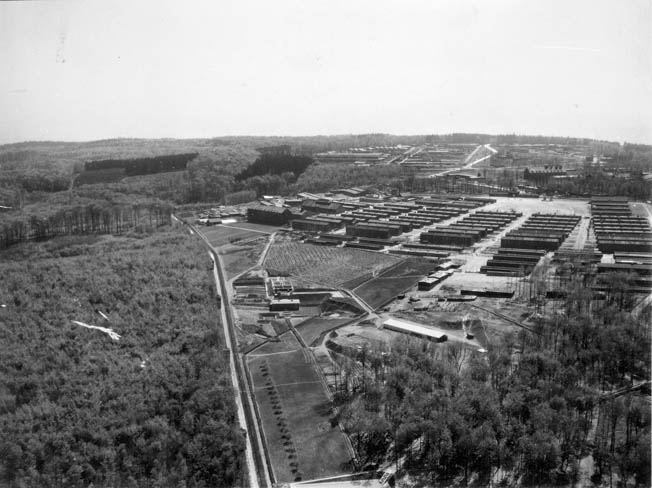 Pre-bombing aerial view of the camp with the Gustloff-Werk II V2 factory visible in the distance. The prisoner barracks are in the foreground.