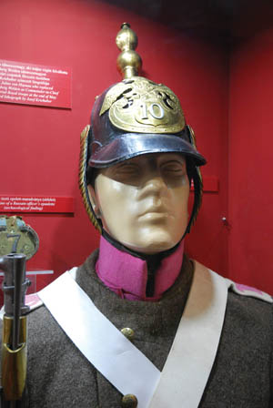 A spiked helmet worn by a Russian soldier during the 1848 rebellion.