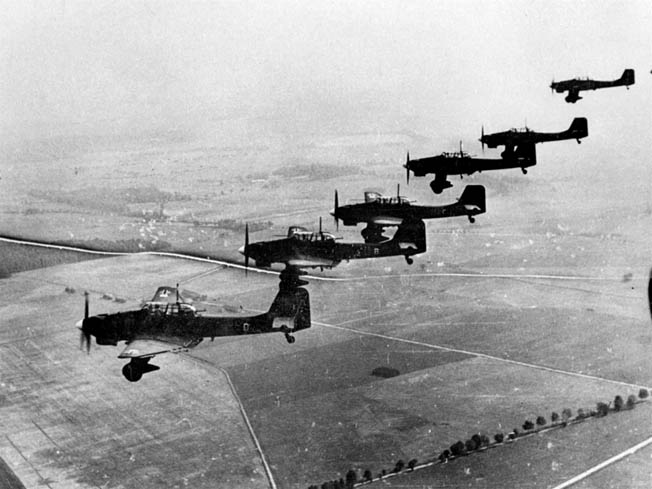A formation of Ju-87B Stuka dive bombers over Poland, September 1939.