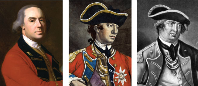 Senior Commanders: British Lt. Gen. Thomas Gage, British Maj. Gen. William Howe, and American General Israel Putnam.