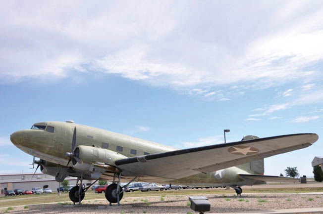 "A C-47 ""Skytrain"" transport plane of the type used to tow gliders in WWII stands outside the museum in Lubbock, Texas."