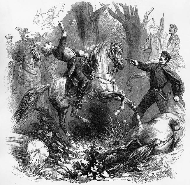 A contemporary sketch shows the death of Confederate Brig. Gen. Felix Zollicoffer at the Battle of Mill Springs, Kentucky. Zollicoffer accidentally wandered into Union lines and was shot.