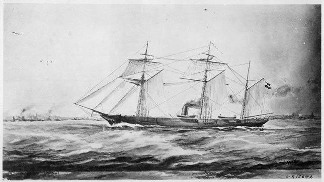 CSS Alabama in her full glory. The 220-foot sloop mounted just eight guns, but took 64 prizes worth some $6.5 million in a 21-month-long career that ranged from Newfoundland to Cape Town, South Africa.