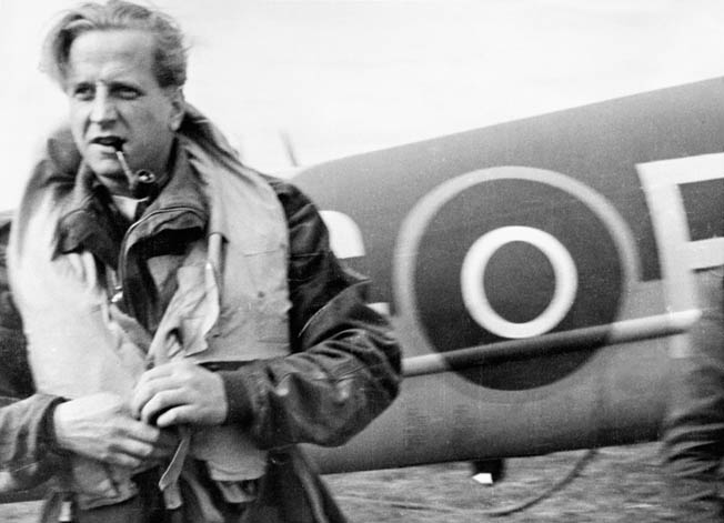 "Wing Commander Percy ""Pick"" Pickard, photographed by his Mosquito shortly before he and his navigator were killed during the Amiens raid."
